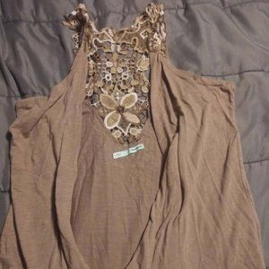 🎉B3G1 Maurices L Brown Floral Tank Cardigan